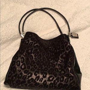 Black velvet/leopard Coach handbag